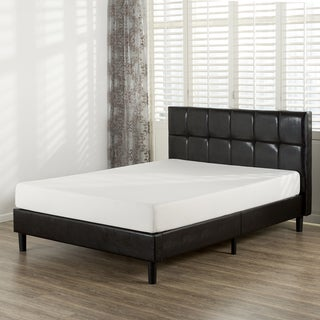 Priage Square-Detailed Faux Leather Queen-size Platform Bed