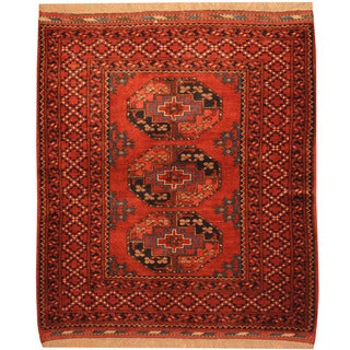 Herat Oriental Afghan Hand-knotted Turkoman Wool Rug (3'10 x 4'7)