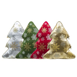 Holiday Tree Red, Green, Gold, and Silver Cotton and Acrylic 4-piece Throw Pillow Set