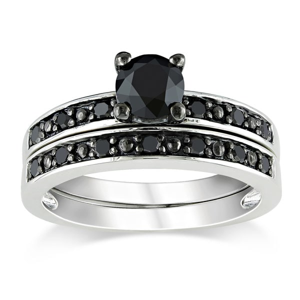 Miadora 1 CT Black  Diamond TW Bridal Set Ring  Silver  Black Rhodium Plated