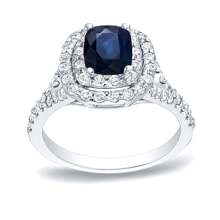 Auriya Platinum 1/2ct Blue Sapphire and 3/4ct Diamond Halo Engagement Ring (H-I, SI1-SI2)
