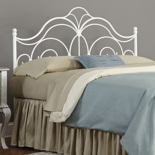 Rhapsody Metal Headboard with Curved Grill Design and Finial Posts