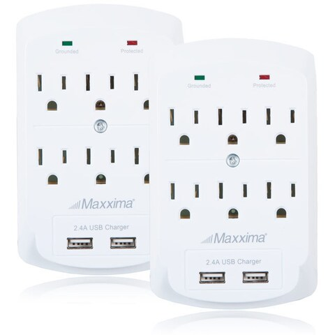 Maxxima 6 Outlet Dual USB 2.4A Grounded Adapter Plug (Pack of 2)