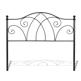 Deland Metal Headboard with Curved Grill Design and Finial Posts