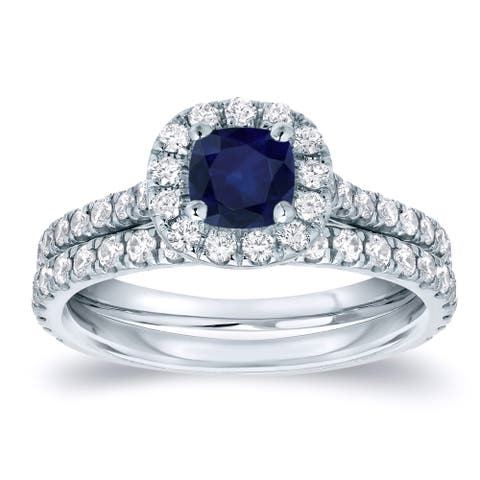 Auriya 2/5ct Blue Sapphire and 3/5ctw Halo Diamond Engagement Ring Set Platinum