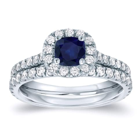 Auriya Platinum 2/5ct Blue Sapphire and 3/5ctw Halo Diamond Engagement Ring Set