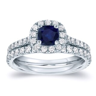 Auriya Platinum 2/5ct Blue Sapphire and 3/5ct Diamond Halo Bridal Ring Set (H-I, SI1-SI2)
