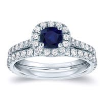 Auriya Platinum 2/5ct Blue Sapphire and 3/5ct Diamond Halo Engagement Ring Bridal Set
