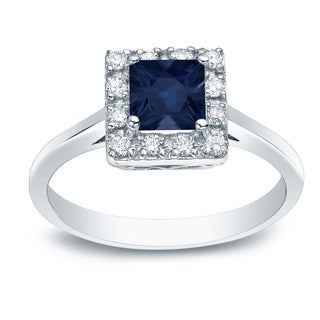 Auriya Platinum 1/3ct Blue Sapphire and 1/5ct Diamond Halo Engagement Ring (H-I, SI1-SI2)