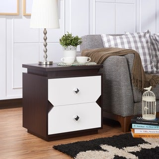 Furniture of America Tarris Contemporary Two-Tone Walnut/White 2-drawer End Table