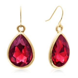 Adoriana 18 Carat Pear Shape Ruby Red Crystal Earrings, Gold Overlay