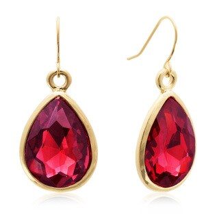 Adoriana Pear Shape Red Crystal Earrings, Gold Over Brass