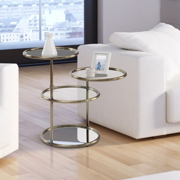 Charmant Furniture Of America Korra Modern Round Swivel Glass/Champagne End Table