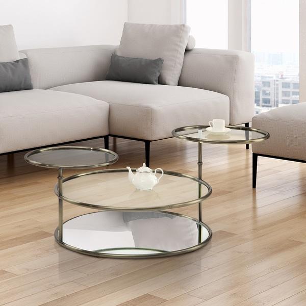 Larayia Swivel Glass Coffee Table: Shop Furniture Of America Korra Modern Round Swivel Glass