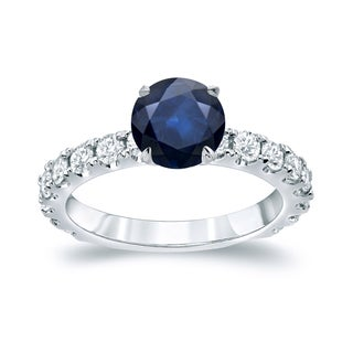Auriya Platinum 1 1/2ct Blue Sapphire and 1ct TDW Round Diamond Engagement Ring (H-I, SI1-SI2)