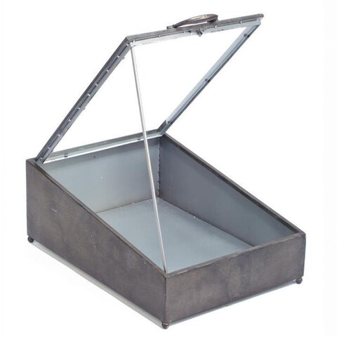 Grey Iron Trunk with Glass Top