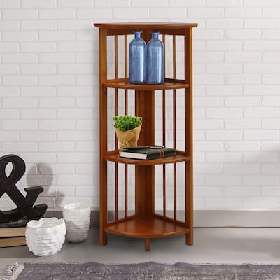 Mission 4-shelf Corner Folding Wood Bookcase