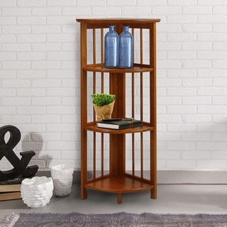 Transitional 4-shelf Corner Folding Wood Bookcase