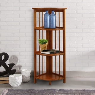 Mission 4-shelf Corner Folding Wood Bookcase
