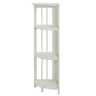 Transitional 4-shelf Corner Folding Wood Bookcase