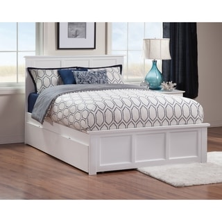 Madison Full Platform Bed with Matching Foot Board with Twin Size Urban Trundle Bed in White