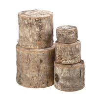 Cabin-style White and Brown Natural Birchwood Risers (5-piece Set)