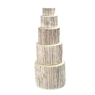 Round Bark Wrapped Wood Risers (Pack of 5)