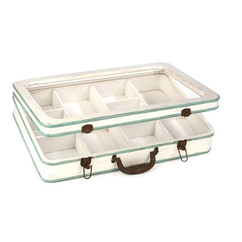 Green and White Wood and Glass Divided Suitcase Jewelry Box