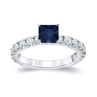 Auriya Platinum 3/4ct Princess Cut Blue Sapphire and 1ct TDW Diamond Engagement Ring (H-I, SI1-SI2)
