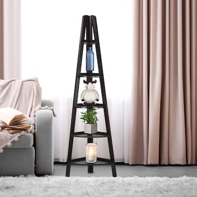 5-Shelf Corner Ladder Espresso Bookcase