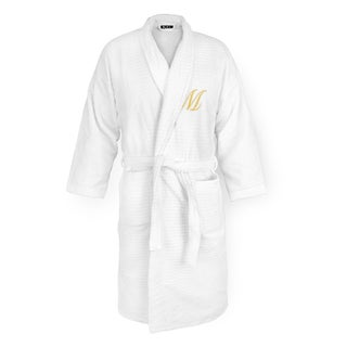 White Sugarcube Robe with Gold Monogram