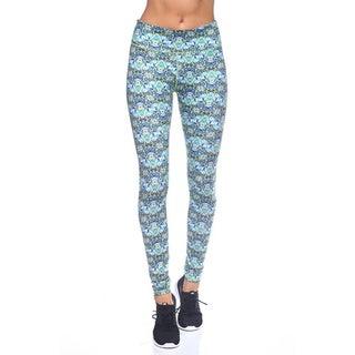 Women's Blue Floral Nylon Yoga Print Legging