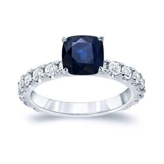 Auriya Platinum 1 1/2ct Cushion Cut Blue Sapphire and 1ct TDW Diamond Engagement Ring (H-I, SI1-SI2)
