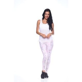 Women's Pink Nylon Printed Activewear Leggings