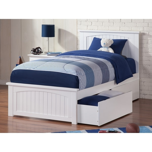Nantucket Twin XL Platform Bed with Matching Foot Board with 2 Urban Bed Drawers in White