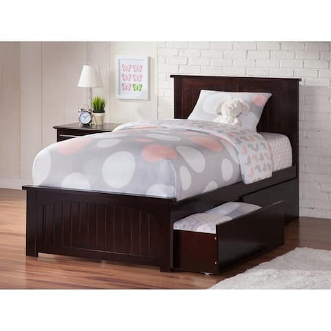 Nantucket Twin XL Platform Bed with Matching Foot Board with 2 Urban Bed Drawers in Espresso