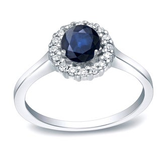 Auriya Platinum 1/2ct Blue Sapphire and 1/4ct Diamond Halo Engagement Ring (H-I, SI1-SI2)
