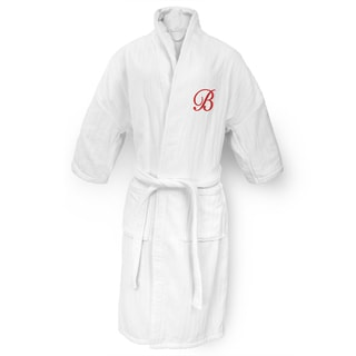 Kaufman Unisex White Cotton Railroad Robe with Red Monogram