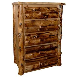 Rustic Aspen Log 5 Drawer Dresser