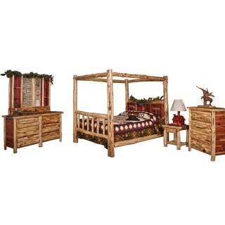 Red Cedar Log QUEEN SIZE 5 pc Bedroom Furniture Set