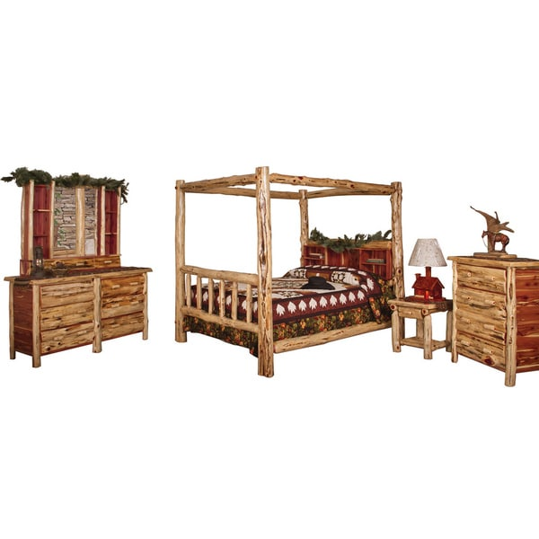Red Cedar Log QUEEN SIZE 5 pc Bedroom Furniture Set - Free Shipping ...