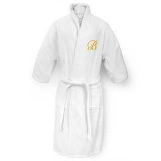 Kaufman Unisex White Cotton Railroad Robe with Gold Monogram