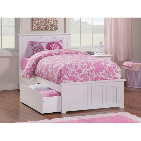 Nantucket Twin Platform Bed with Matching Foot Board with 2 Urban Bed Drawers in White. Opens flyout.