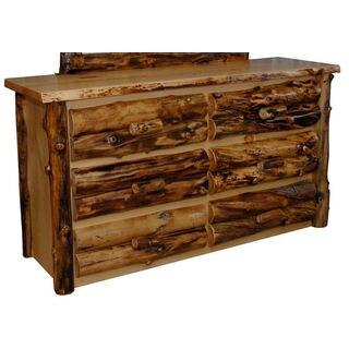 Rustic Aspen Log 6 Drawer Dresser