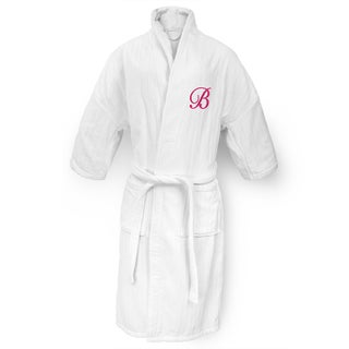 Kaufman Unisex White Cotton Railroad Robe with Fuchsia Monogram
