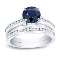 Auriya Platinum 1ct Blue Sapphire and 1ct Diamond Engagement Ring Set