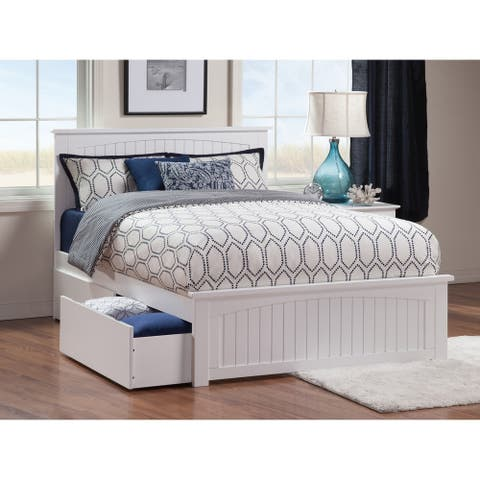 Nantucket Queen Platform Bed with Matching Foot Board with 2 Urban Bed Drawers in White