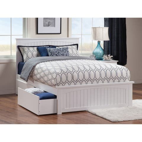 Nantucket White Queen Platform Bed with 2 Under-bed Drawers