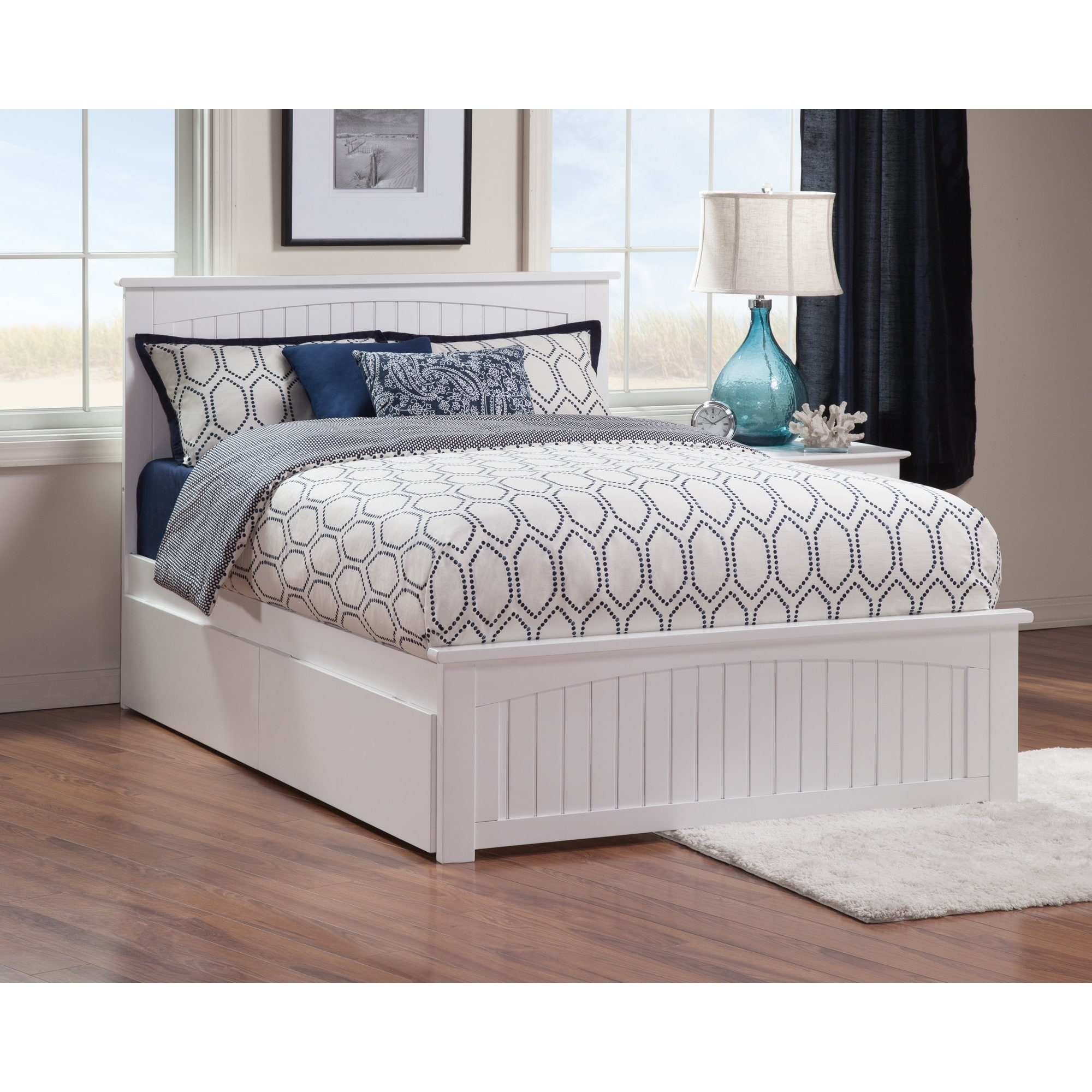 Shop Black Friday Deals On Nantucket White Queen Platform Bed With 2 Under Bed Drawers Overstock 13370595