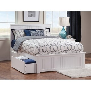 Nantucket Queen Bed with Matching Foot Board with 2 Urban Bed Drawers in White